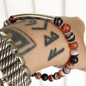 🔴SALE ! Brownish red agate silver bar bracelet